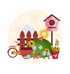 Big garden and farm set vector
