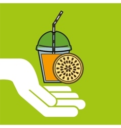 Delicious juice fruit and cup cover straw icon vector