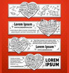 set of horizontal romantic doodles banners vector image