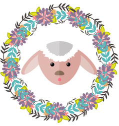 Lamb and floral wreath separated vector