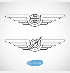 Aviation emblems badges and logo patches vector