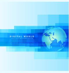Globe earth map on abstract digital blue vector