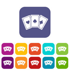 Three aces playing cards icons set vector