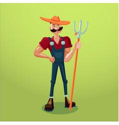 Farmer with a pitchfork isolated cartoon vector