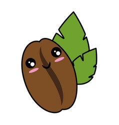coffee bean natural kawaii cute cartoon vector image