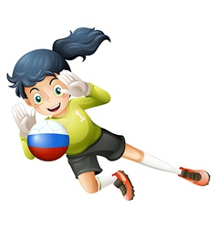 A smiling lady using the ball with the russian vector