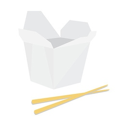 Noodle boxm with chopsticks vector