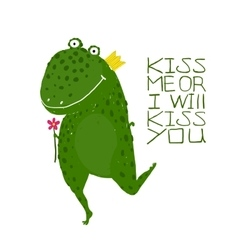 Fun green magic frog asking for kiss smiling vector