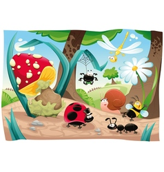 Insects family on the ground vector image