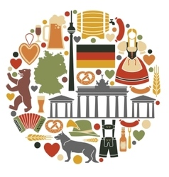 Icons of germany in the form of a circle vector