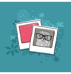 Old photo of cute owl vector image