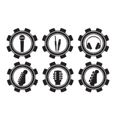 Music icons black and white icons vector