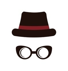 Hat and glasses icon hipster style concept vector