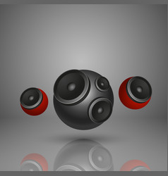 Abstract music background with round speakers vector