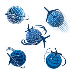 Around the world travel icon with plane and globe vector