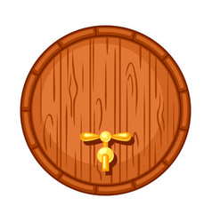 Beer wooden barrel on white background vector