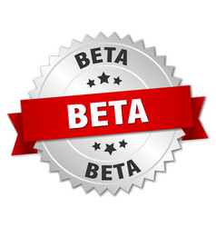 Beta round isolated silver badge vector