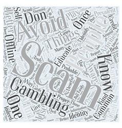 Bwg offline gambling scam word cloud concept vector