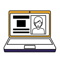 Computer laptop with curriculum vector