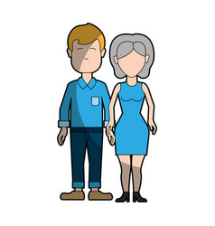 Couple man and woman with short hair vector