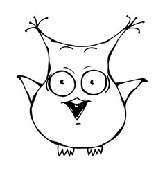 cute funny scared crazy mad insane owl bird vector image vector image