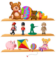 Cute toys on wooden shelves vector