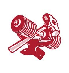 Dumbbell Anvil and Sledgehammer Retro vector image
