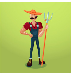 farmer with a pitchfork isolated cartoon vector image vector image