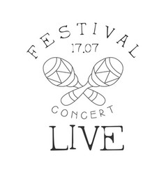 festival live music concert black and white poster vector image vector image