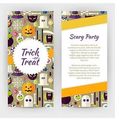 Flyer template of flat design halloween party vector