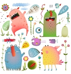 Fun Cute Monsters for Kids Design Colorful vector image