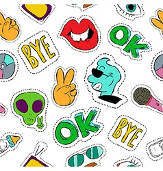 Fun hand drawn patch icon seamless pattern vector
