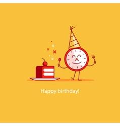Happy birthday event celebration piece of cake vector image vector image