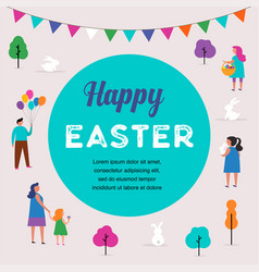 Happy easter scene with families vector