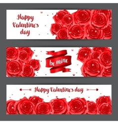 Happy valentine day banners with red realistic vector