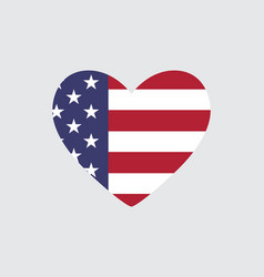 Heart of the usa flag colors and symbols vector