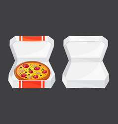 Hot fresh pizza box icon vector
