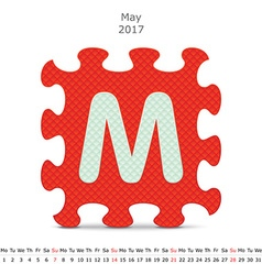 May 2017 puzzle calendar vector image