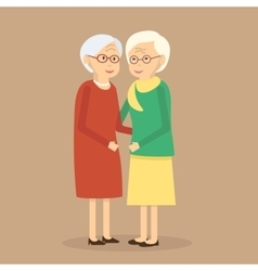 Old People Friends vector image