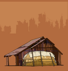 Old rustic barn with a large haystack vector