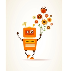 Orange robot with flowers vector image vector image