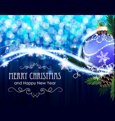 pine branches with bauble on blue vector image