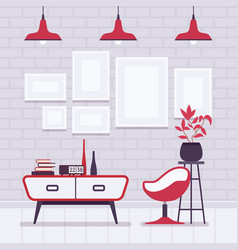Retro interior with red lamps frames for vector