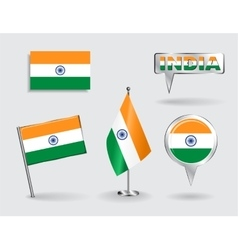 Set of indian pin icon and map pointer flags vector