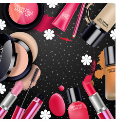 sets of cosmetics on black background vector image vector image
