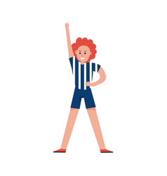 Smiling sports fan girl wearing referee uniform vector