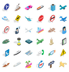 Traffic in city icons set isometric style vector