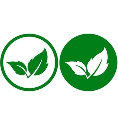 two green leaves icons vector image vector image