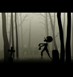 Zombie walking on the graveyard in dark woods vector