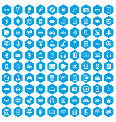 100 gadget icons set blue vector